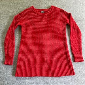 market and spruce red split back tunic sweater